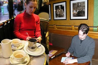 Eric and Amy writing in cafes